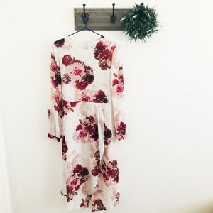 Leith Pink Floral Midi Dress S